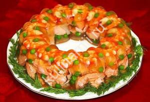 заливное из семги с креветками фото