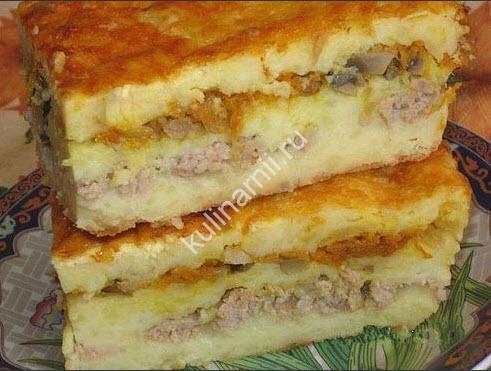 слоеная картофельная запеканка фото