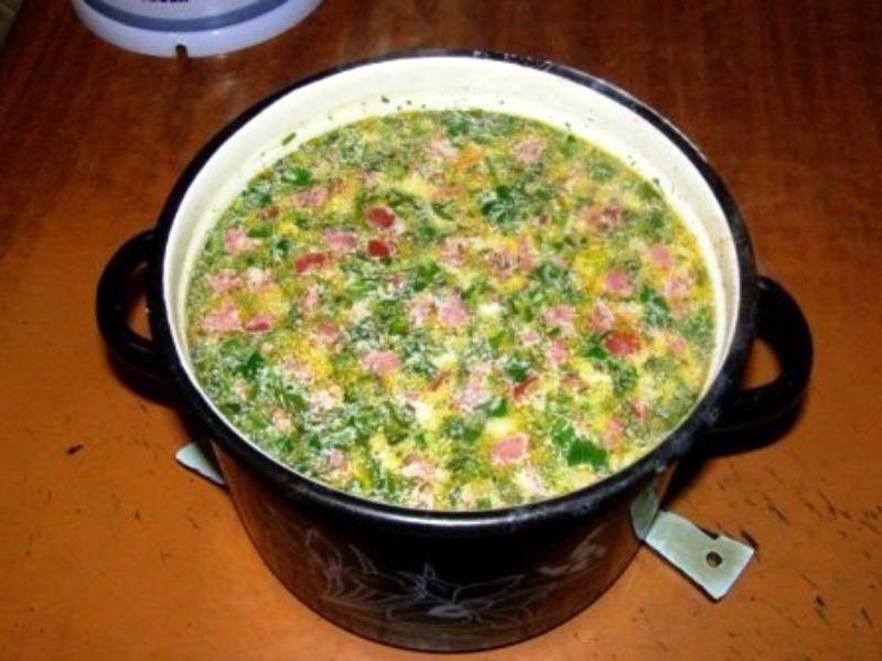Суп с колбасой и сыром рецепт с пошагово