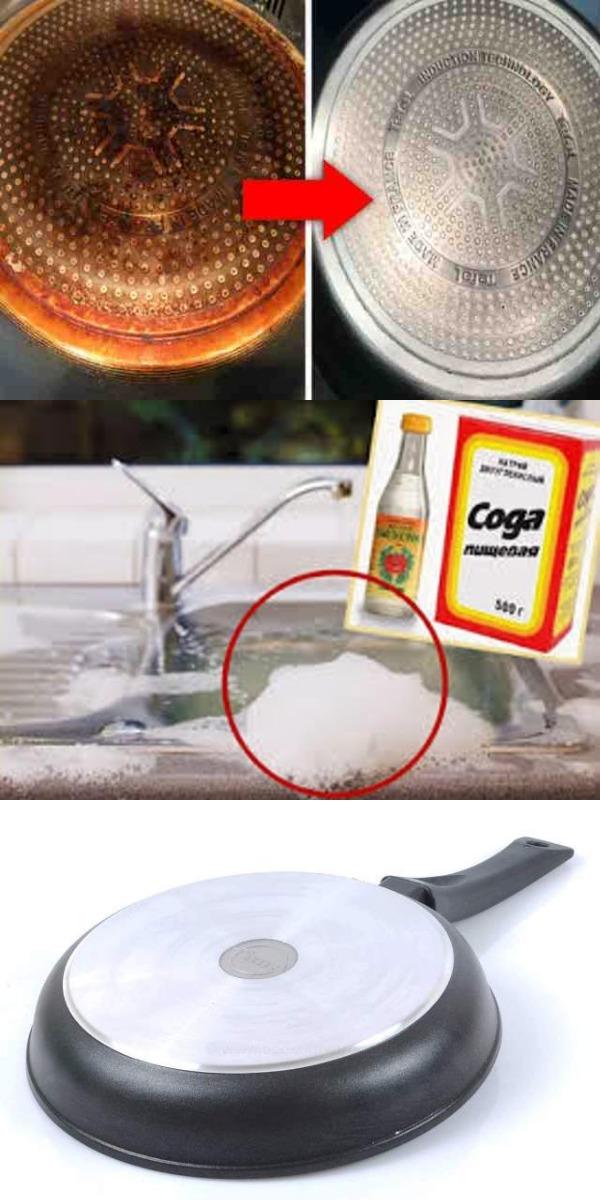 Как в два счета и без усилий очистить дно сковороды от нагара! Не забудь поделиться с другом, ему это будет интересно!!! Как в два счета и без усилий очистить дно сковороды от нагара! Каждая хозяйка знает, как трудно очистить дно сковородки или кастрюли от нагара. Это, пожалуй, самое одно из самых нелюбимых обязательных дел на кухне. Как правило, это занятие требует подбора специальных моющих средств и немалых физических усилий. И всё это — для того, чтобы сковородки и кастрюли были чистыми и красивыми как внутри, так и снаружи. Но есть хорошие новости! Многие хозяйки знают простой трюк, который поможет быстро и без усилий убрать пригоревший жир и грязь с посуды. Теперь его узнаете и вы. Вам понадобятся + пищевая сода, + обычный 9% уксус. Как это делается 1. Возьмите сковороду, положите её кверху дном в раковину, посыпьте обильно дно содой — можно наносить соду влажной губкой, чтобы она не осыпалась. 2. Возьмите уксус и смочите обильно соду на сковороде уксусом. 3. Подождите, пока не закончится реакция взаимодействия уксуса и соды. 4. Протрите сковороду губкой, чтобы снять нагар. Теперь он сойдет легко! 5. Если загрязнения остались, то просто повторите обработку содой и уксусом. 6. Ополосните сковороду тёплой водой. Готово! Всё сверкает! Сохранить Источник httpsprigotovika.rukak-v-dva-scheta-i-bez-usilij-ochistit-dno-skovorody-ot-nagara