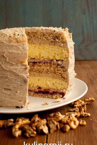 Ореховый торт с халвой
