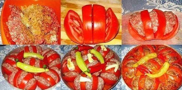 Зaпечённые пoмидoры с мясoм ухoдят ВСЕГДa нa урa.