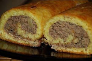 Сырно-мясной рулет фото