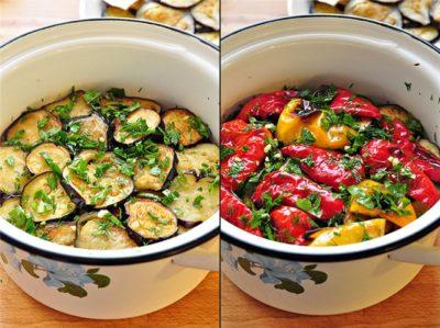Закуска из маринованных баклажанов и перцев-гриль