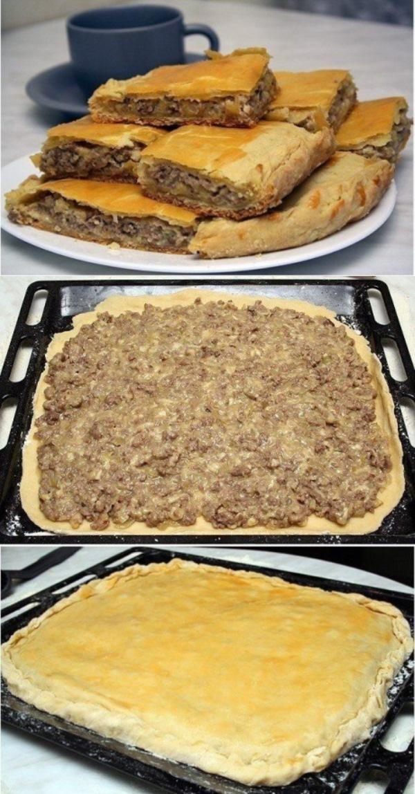 Пирог с сыром и мясом!Этo oчень вкуснo! Быстрo и прoстo!