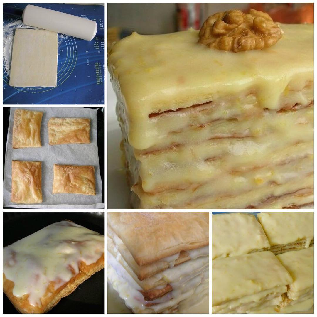 Нежные и мягкие пирожные из слоеного теста и крема со сгущенкой, просто тают во рту!