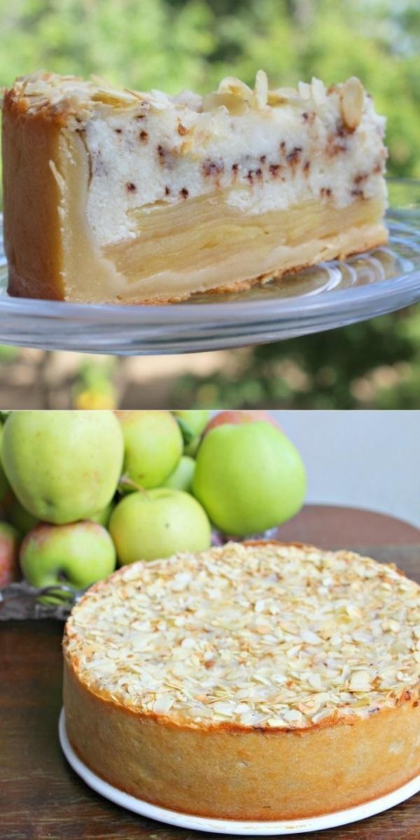 Яблочно-творожный пирог с шоколадом.