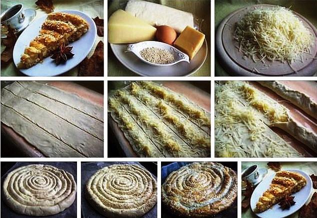 Этот слоеный пирог с сыром выглядит очень необычно, а потому его вид не только улучшит аппетит, но и украсит любой, даже праздничный, стол.
