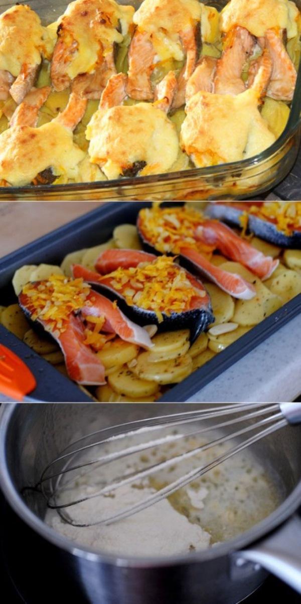 Вы влюбитесь в это блюдо с первого кусочка! Особенно, если вы не равнодушны к рыбе. Рыбка получается очень нежной и сочной, а картофель и соус отлично её дополняют.
